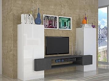 Wohnwand Tv Wand Board Austria Hochglanz 3 Tlg Weiß Schiefer Amazon