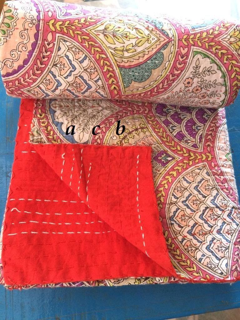Indianツインシングルベッドサイズレインボーフローラル印刷Kanthaキルト、Kanthaブランケット、ベッドカバー、ベッドスプレッド、ボヘミアン寝具6090