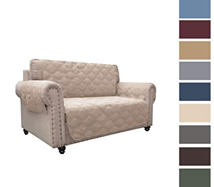 Peachy Chhkon Sofa Cover Waterproof With Anti Skip Dog Paw Print 100 Quilted Furniture Protector Sofa Slipcover For Children Pets For Leather Couch Beige Andrewgaddart Wooden Chair Designs For Living Room Andrewgaddartcom