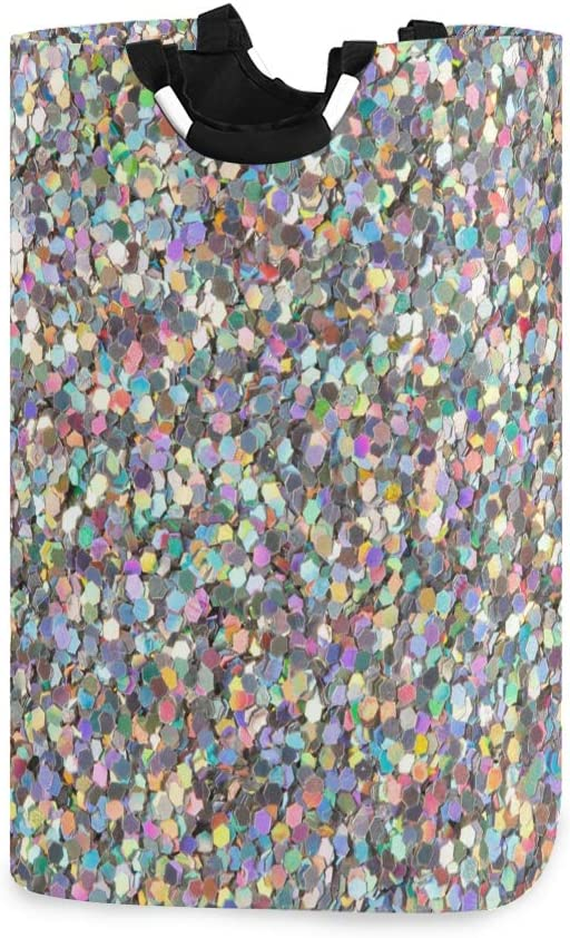 YYZZH Holographic Glitter Texture Print Large Laundry Bag Basket Shopping Bag Collapsible Polyester Laundry Hamper Foldable Clothes Bag Folding Washing Bin