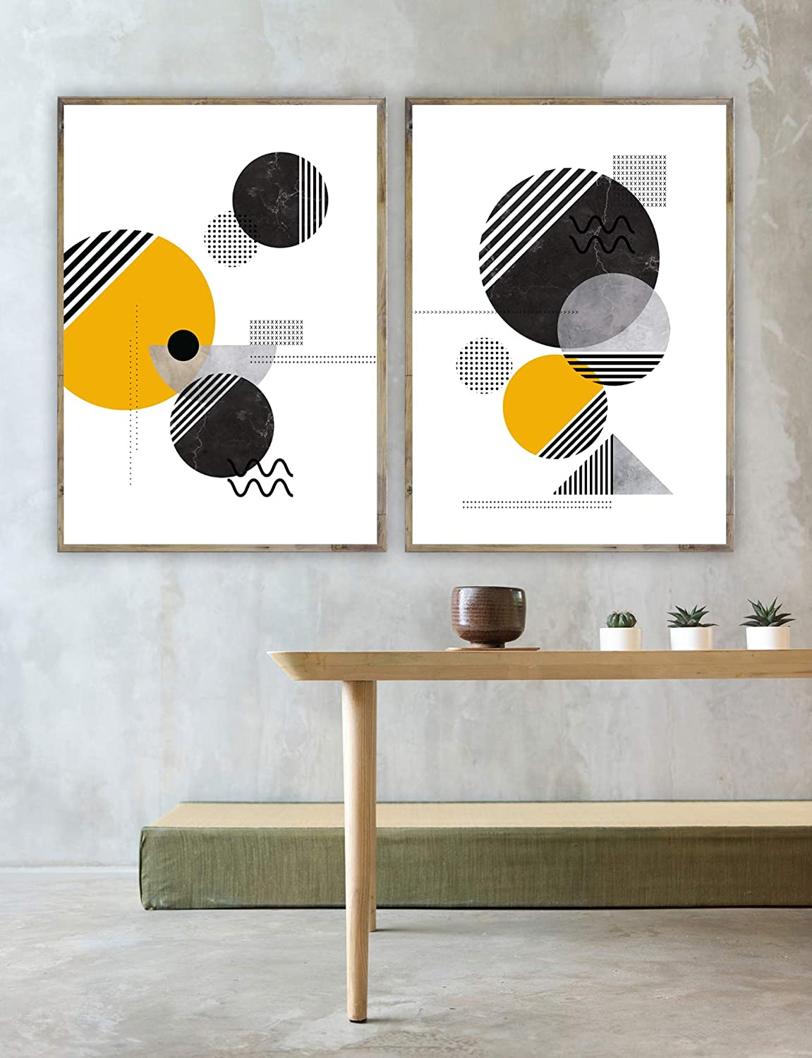 Abstract poster printing set 2 poster diptych yellow and black textured print geometric wall art abstract art modern scandinavian print
