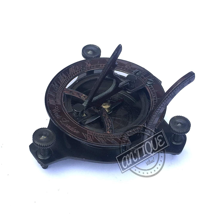 Pocket Sundial Brass Sundial Compass Brass Antiques West London