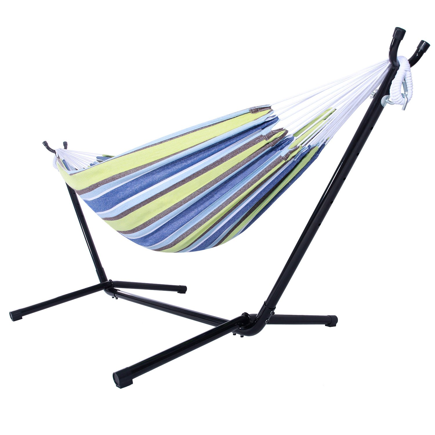 Z ZTDM Double Hammock with Space-Saving Steel Stand, Heavy Duty 2 Person Comfortable Portable Hammock Includes Carrying Case, 440 lbs Capacity for Indoor/Outdoor/Porch/Yard/Patio (Green Stripe)