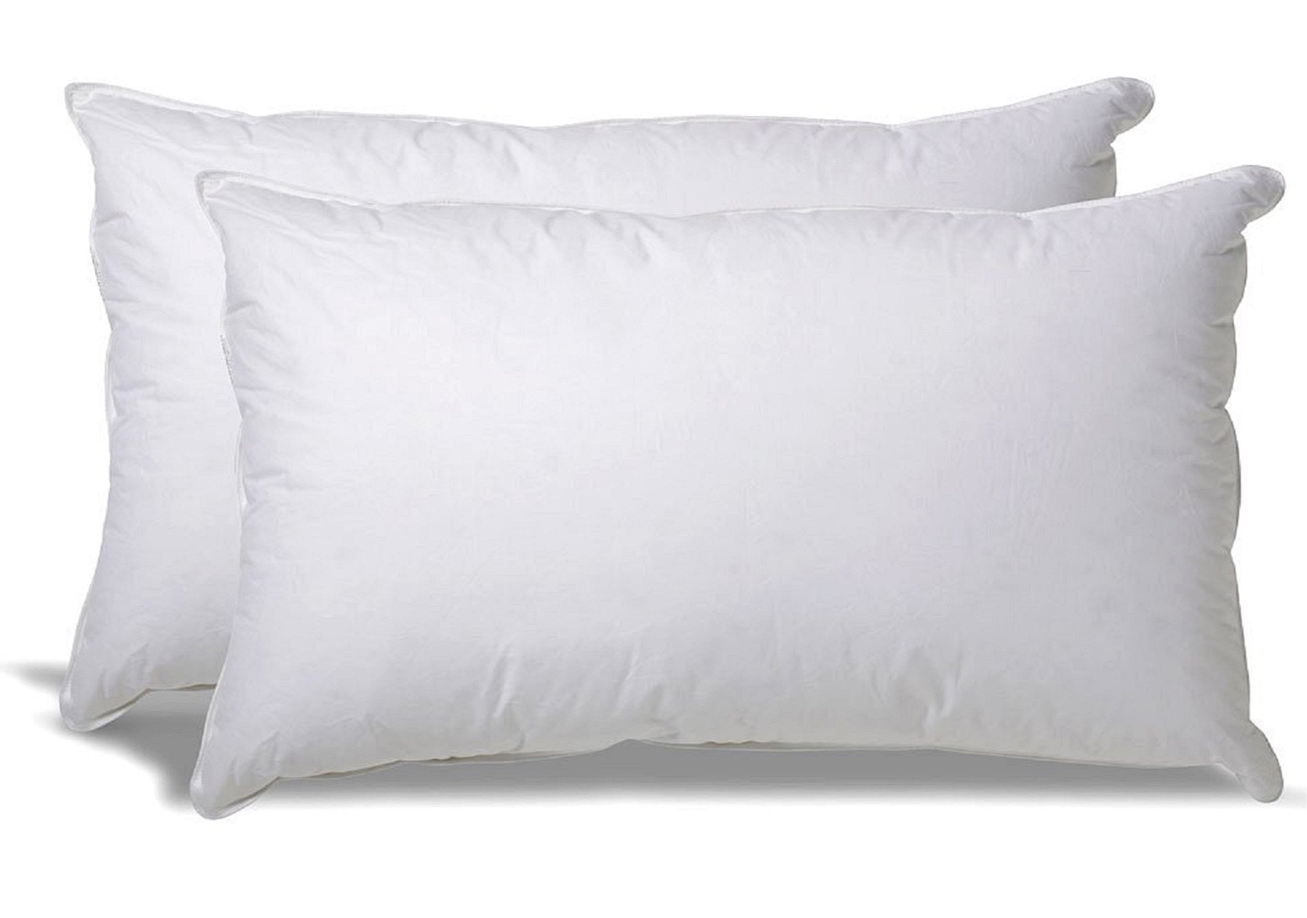 White Classic Down-Alternative Soft Bed Pillows for Sleeping - 100% Cotton Pillow Cover - Hypoallergenic Dust Mite Resistant - No Flattening - King Size - 2-Pack by White Classic