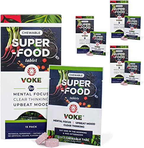 Voke Energy Jitter-Free, All-Day Packs for Energy, Mental Focus, Upbeat Mood and Clear Thinking 120 Chewable Superfood Tablets with Vitamin C Antioxidants 60 Day Supply