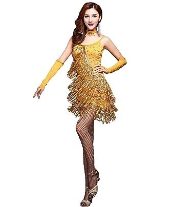 9b3ac8ce48f0 Femirah Women's 1920s Sequin Fringe Charleston Flapper Dance Dresses  Costumes (2/4, Gold