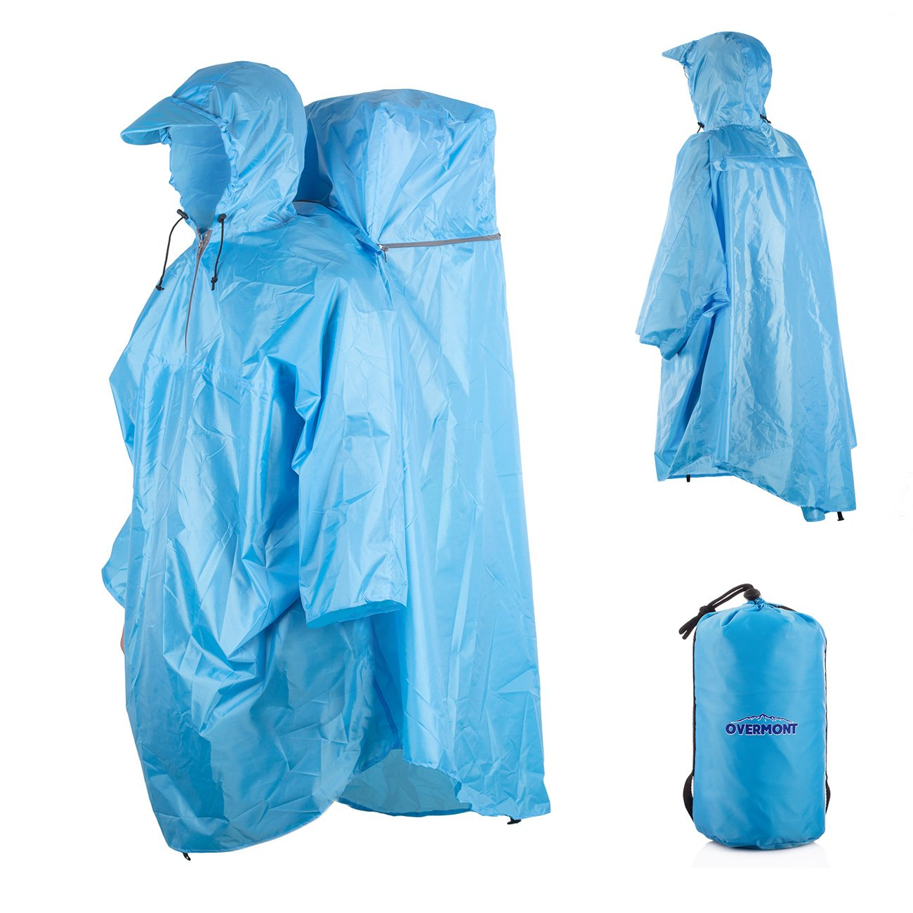 Overmont One Piece Waterproof Raincoat Rain Poncho with Hoods Backpack Rain Cover for Outdoor Hiking Travel Camping (Blue)