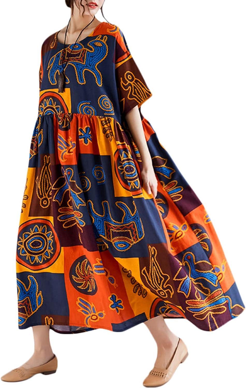 Romacci Women Vintage Loose Dress Contrast Color Print Half Sleeves Robes Oversized Cotton Linen Casual Dress