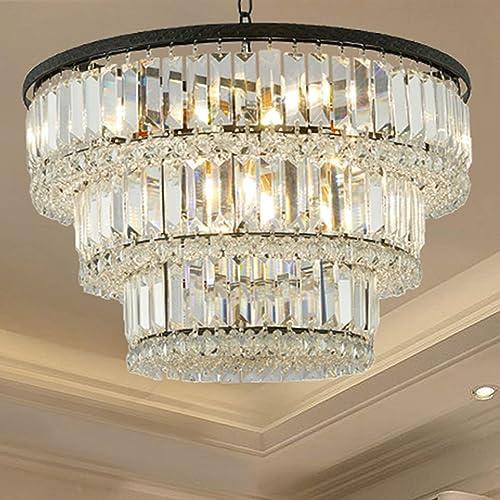 MonDaufie 3-Tier D20″ X H12″ 6 Lights Modern Contemporary Luxury Glam Hanging Raindrop Flush Mount Light Black Crystal Chandelier