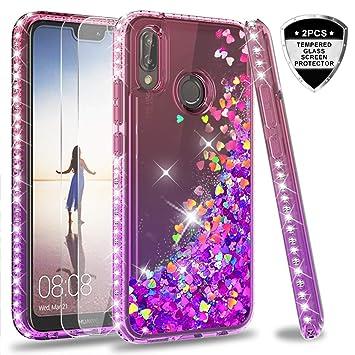 LeYi Funda Huawei P20 Lite Silicona Purpurina Carcasa con [2-Unidades Cristal Vidrio Templado],Transparente Cristal Bumper Telefono Fundas Case Cover ...