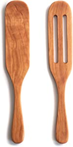 """Wooden Spurtle Set - Handmade in the USA - Wood Spurtles Include Large and Slotted 12"""" Cooking Utensils"""