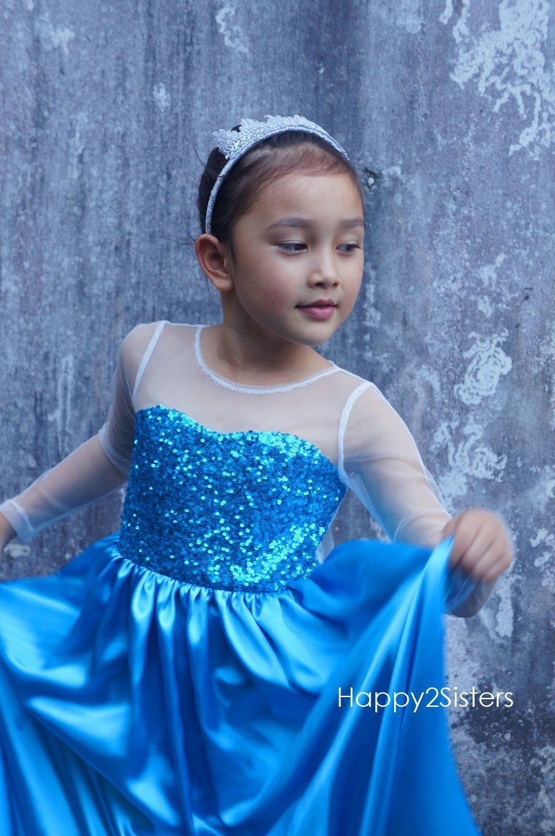 Elsa princess costume Blue sequin girl dress Kids halloween costume
