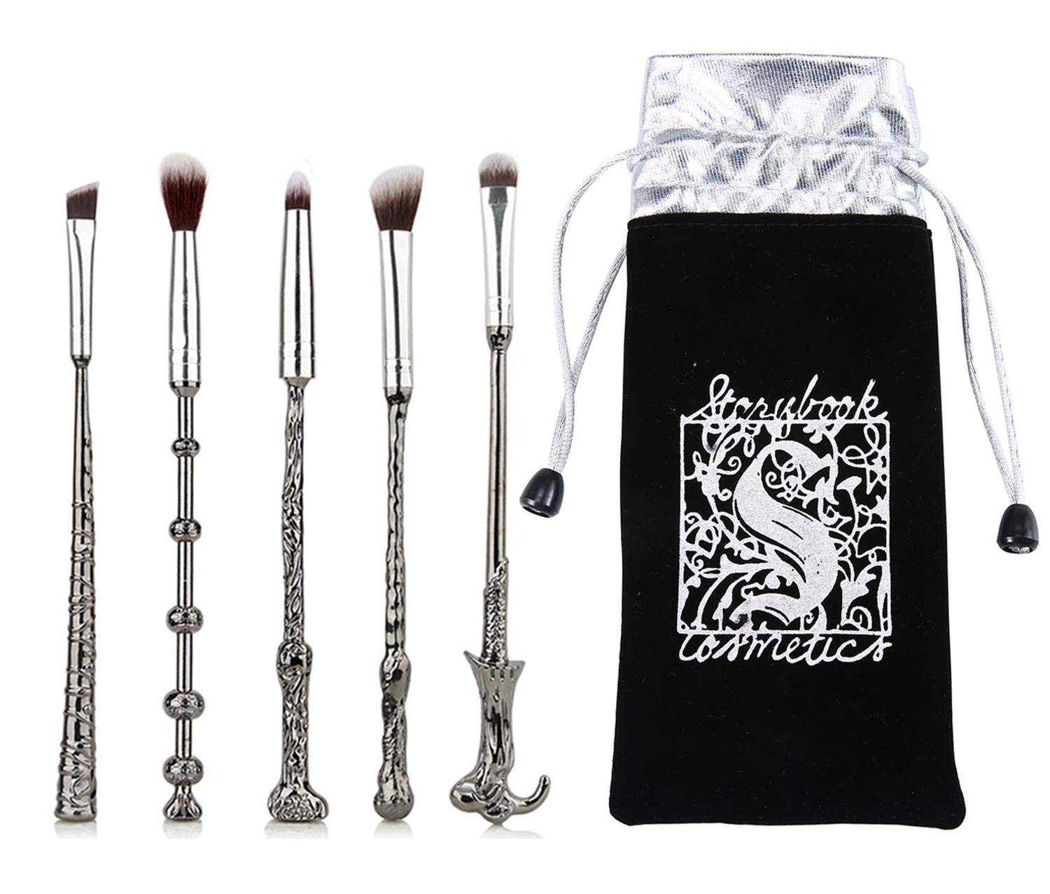 Harry Potter Makeup Brushes Kit 5Pcs with Bag Magic Wizard Wand Metal Make Up Brush Set Tool for Foundation Powder Concealers Eye Shadows Eyeliner Blending Eyeshadow Face Pencil Lip Palette Beauty