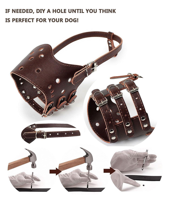 HiujingSport JeonbiuPet Adjustable Dog Muzzle Anti Bite Bark Allow Drink Soft Leather