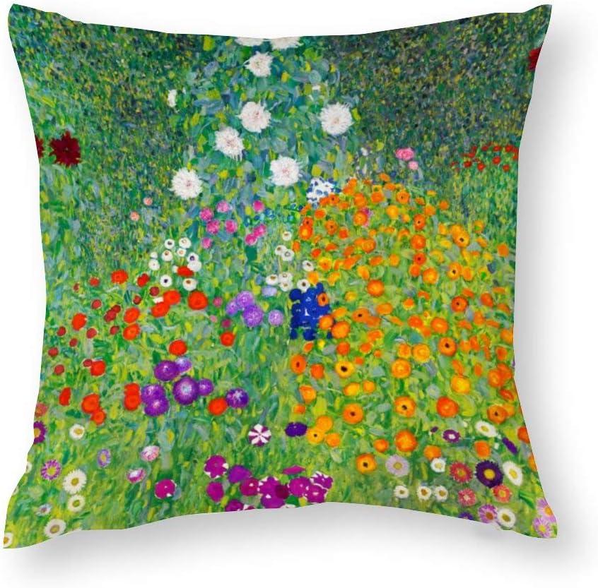 VinMea Decorative Pillow Covers Flower Garden - Gustav Klimt Throw Pillow Case Cushion Cover Home Office Decor,Square 20 X 20 Inches