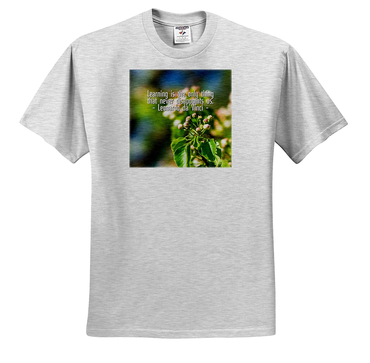 T-Shirts Apple Flower Buds 3dRose Alexis Design da Vinci Quote Learning is The only Thing Quotes Leonardo da Vinci