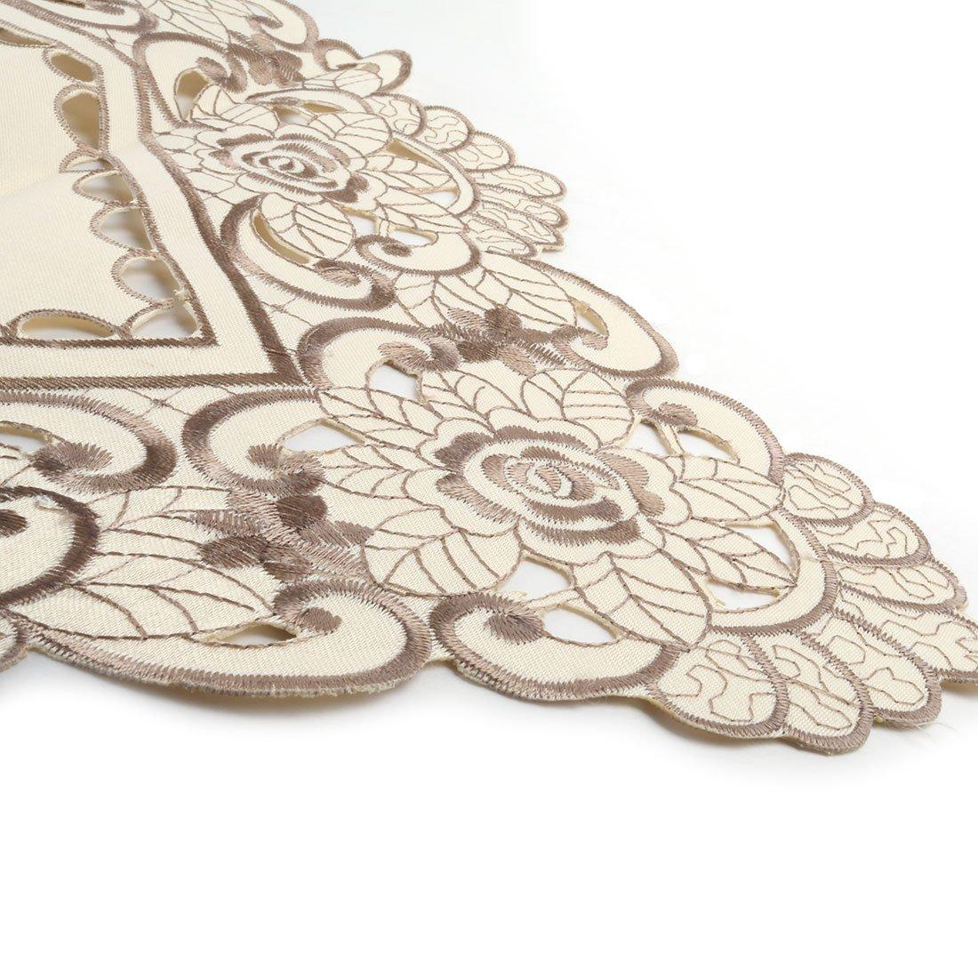sourcingmap/® Chemin de table brod/é fleurs Style ancien d/écor mariage Fleur rouge 40x180cm