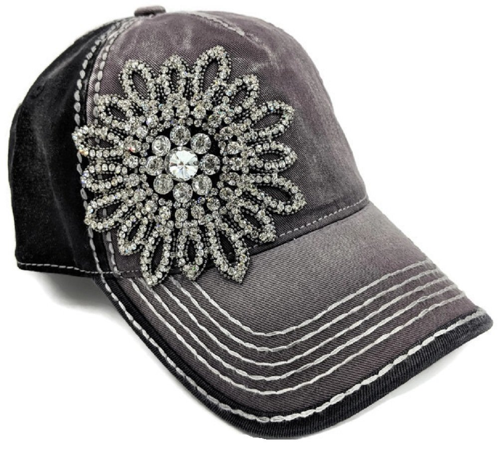 Women's Olive & Pique Large Rhinestone Floral Ball Cap, Charcoal & Black