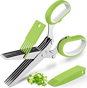 Updated 2021 Herb Scissors Set - Cool Kitchen Gadgets for Cutting Fresh Garden Herbs - Herb Cutter Shears with 5 Blades and Cover, Sharp and Anti-rust Stainless Steel, Dishwasher Safe (Green-White)