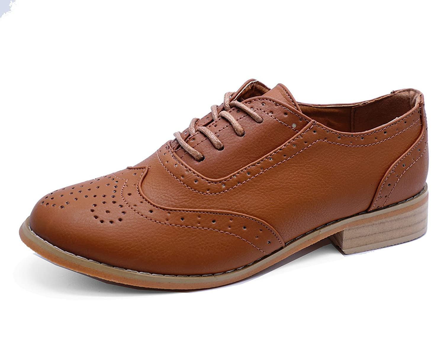 4447aed50f4 Ladies Flat Tan Oxford Brogues Smart Work Lace-Up Casual Comfy Shoes Sizes 3 -8