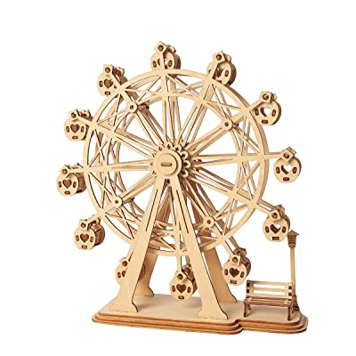 Rolife 3D Wooden Puzzle Assemble Toy-DIY Model Craft Kit-Home Decoration-Best Educational Birthday Day Gift for Boys Girls Friends Son Adults(Ferris Wheel): Toys & Games
