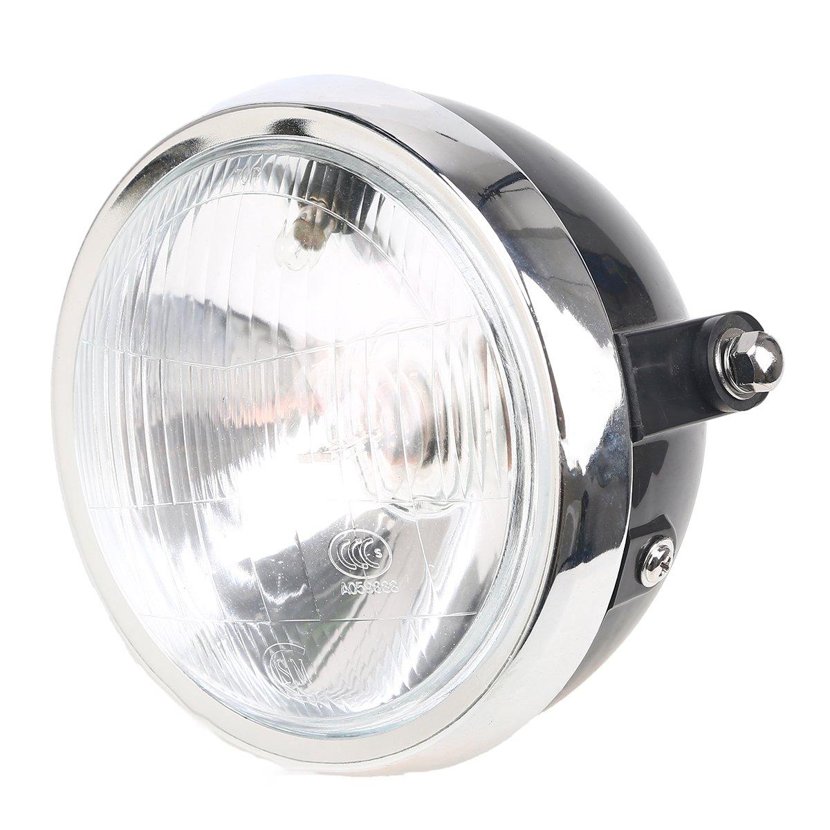 POSSBAY 5.9'' Motorbike Front Headlight High Low Beam Lamps 12V Amber for Honda CG125