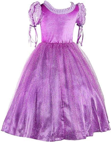 Brand New Princess Rapunzel Disney Style Cosplay Dress Up 2-9 Years Costume