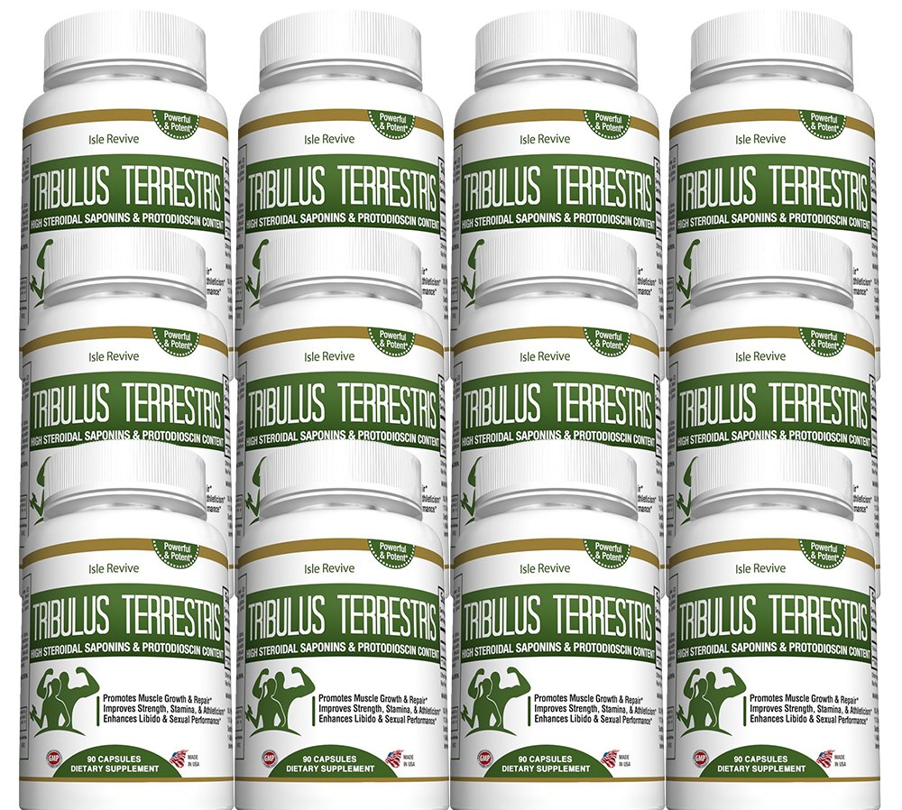Tribulus Terrestris Testosterone Booster Capsules - Muscle Building Strength Endurance Energy Enhancer for Weight Loss Bodybuilding Performance 12 Bottles 90 Capsules Made in USA