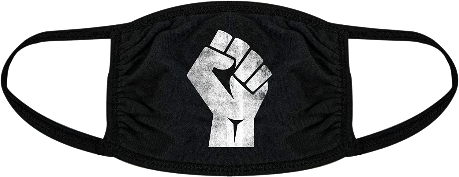 Revolution Fist Face Mask Protest Social Justice Novelty Nose and Mouth Covering (Black) - 1 Pack