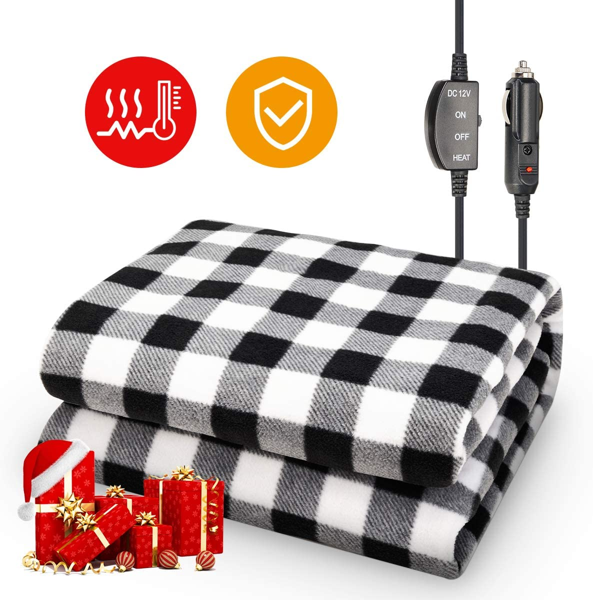 "JOYTUTUS Car Heated Blanket, 12V Fleece Electric Car Blanket, Emergency Heating Throw Blanket Plugs in Cigarette Lighter, Heated Travel Blanket Pad Warm Safe Winter for Car Vehicle SUV RV, 59"" * 43"""