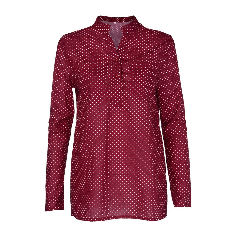 Blouse For Women-Clearance Sale, Farjing V-Neck Wave Point Printing Long Sleeves Plus Size Tops Loose Blouse(US16/4XL,Wine) by Farjing (Image #1)