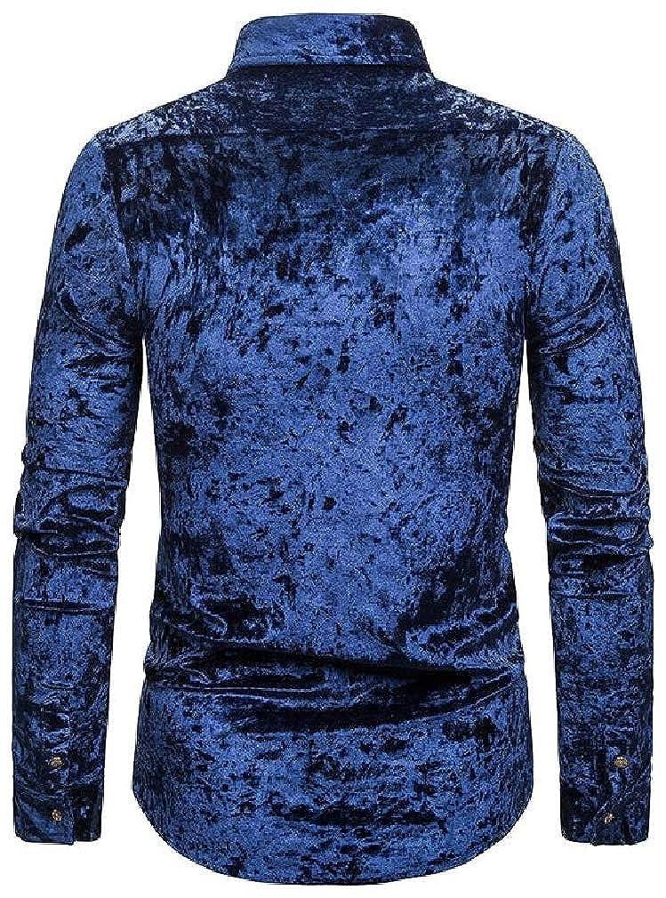Joe Wenko Mens Button Down Velvet Long Sleeve Casual Lapel Collar Dress Shirt