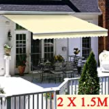 Outsunny Balcony 3 x 1.5m Manual Adjustable Awning DIY Patio Clamp Awning Canopy Retractable Shade Shelter Grey