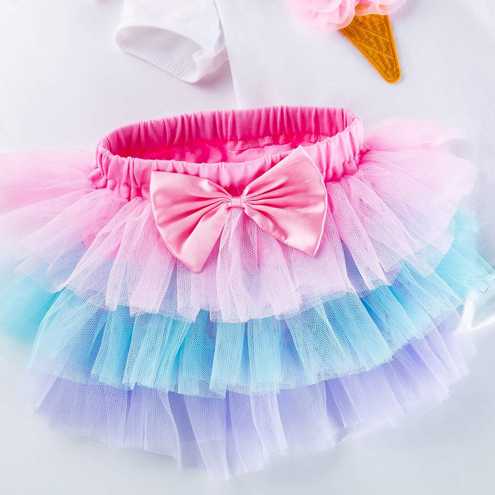 Baby Girl Rose Ice Cream Short Sleeves Jumpsuit Tutu Skirt Sunsuit Outfit with Headband Playwear Outfit M 3Pcs