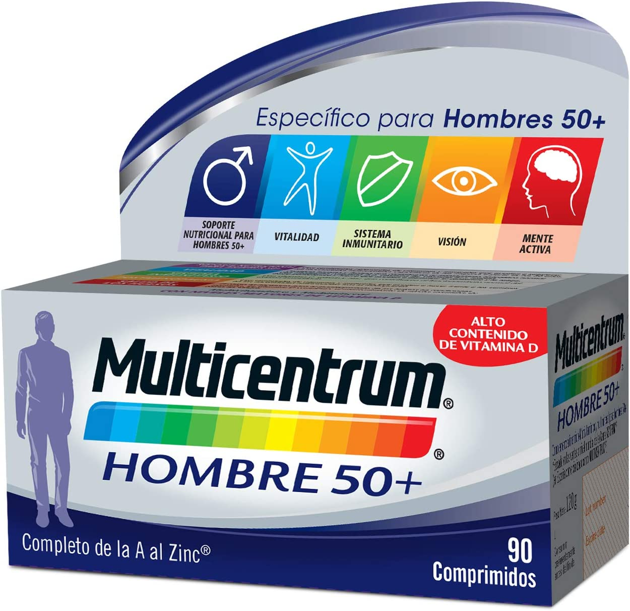 Multicentrum Hombre 50+ Complemento Alimenticio con 13 Vitaminas y 11 Minerales, con Vitamina B1, Vitamina B6, Vitamina B12, Hierro, Vitamina D, Vitamina C - 90 Comprimidos