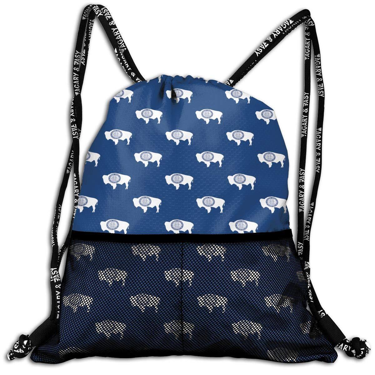 Hipiyoled Wyoming State Flag Pattern Durable Sport Drawstring Backpack for School Soccer Yoga