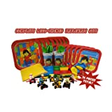 Party Kit for Brick and Lego-Themed Parties (Serves 8) Full Easy Clean-Up Tableware Set and Decorations, Plus 8 BONUS Buildable Race Car Toys with Mini-Fig Drivers! Grab these great party supplies!