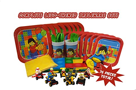 Party Kit for Brick and Lego-Themed Parties (Serves 8) Full Easy Clean  sc 1 st  Amazon.com & Amazon.com: Party Kit for Brick and Lego-Themed Parties (Serves 8 ...