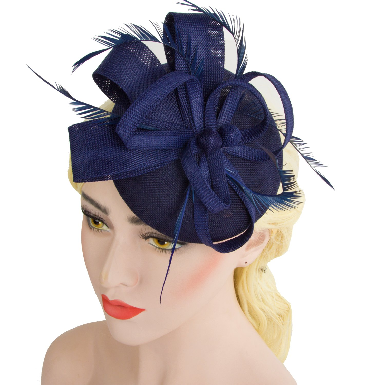 Acecharming Fascinators for Women, Feather Sinamay Fascinators with Headbands Tea Party Pillbox Hat Flower Derby Hats(Navy Blue-02)