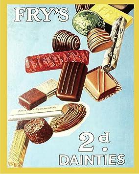 Vintage anuncio señal sartenes CHOCOLATE placa metálica para la pared, diseño con texto en inglés 11 x con diseño retro de póster de cartel de: Amazon.es: ...