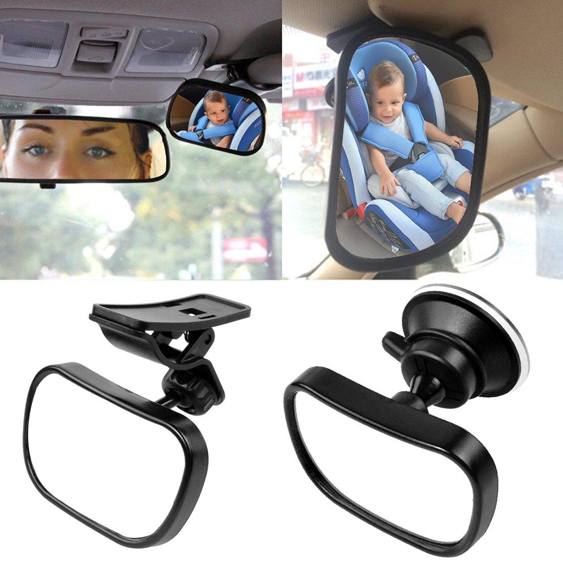Starcrafter Specchietto retrovisore interno per auto (85¡ Á 50mm), Vi consente di prendersi cura il vostro bambino attraverso lo specchietto senza distrarsi dalla guida, regolabile con ventosa e clip adatto a tutti i tipi di vetture 1730672