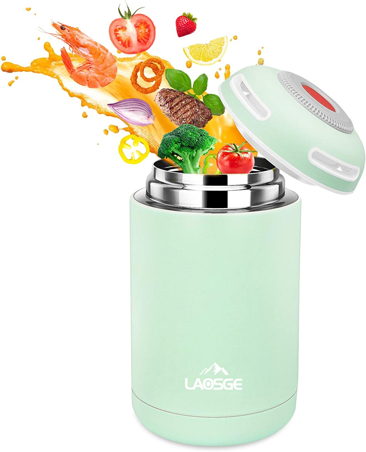 LAOSGE Vacuum Insulated Jar Lunch Container, 16 oz Thermos for Hot Food, Stainless Steel Lunch Box, BPA Free Lunch Soup Container, Leak Proof Double Wall Vacuum Insulated for Kids/Adults (Green)