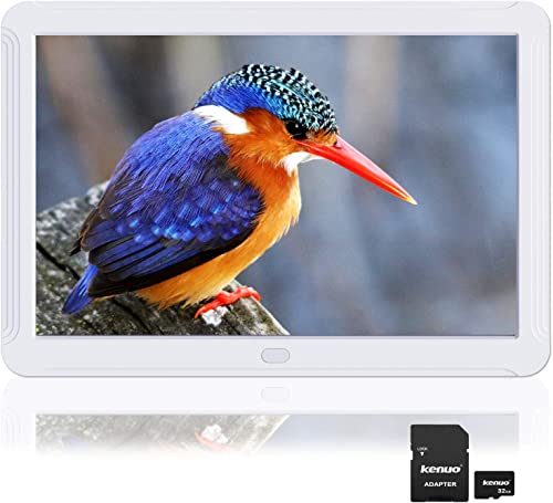 Kenuo 8 inch Digital Picture Frame Include 32GB Card 1920×1080 IPS Screen Digital Photo Frame