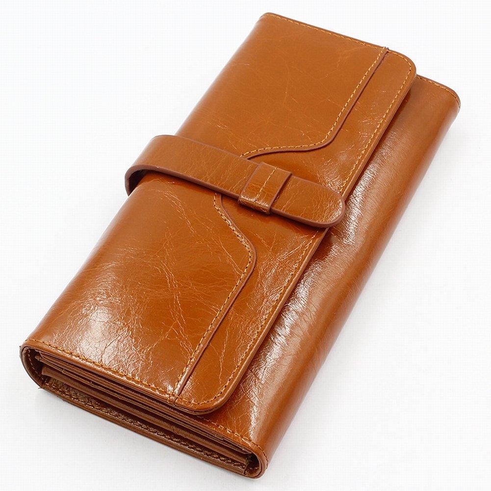 Weibliche Ledertasche Lange Lederhandtaschen Öl Wachs Leder Geschäft-Geschenke Rindleder Handtaschen , Orange
