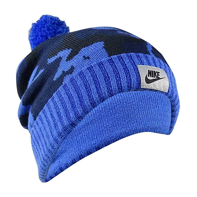 7eaed052 Amazon.com: NIKE Mens Knit Printed Beanie Hat Blue O/S: Sports & Outdoors