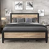 SHA CERLIN Heavy Duty Metal Bed Frame Queen Size / Wooden Headboard Footboard with Rivet / 13 Strong Steel Slats Support / No