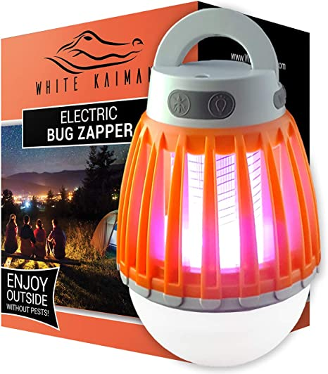 White Kaiman 2 in 1 Bug Zapper Outdoor - Rechargeable Waterproof Mosquito Killer Light Bulb for Indoors & Outdoors (Orange)