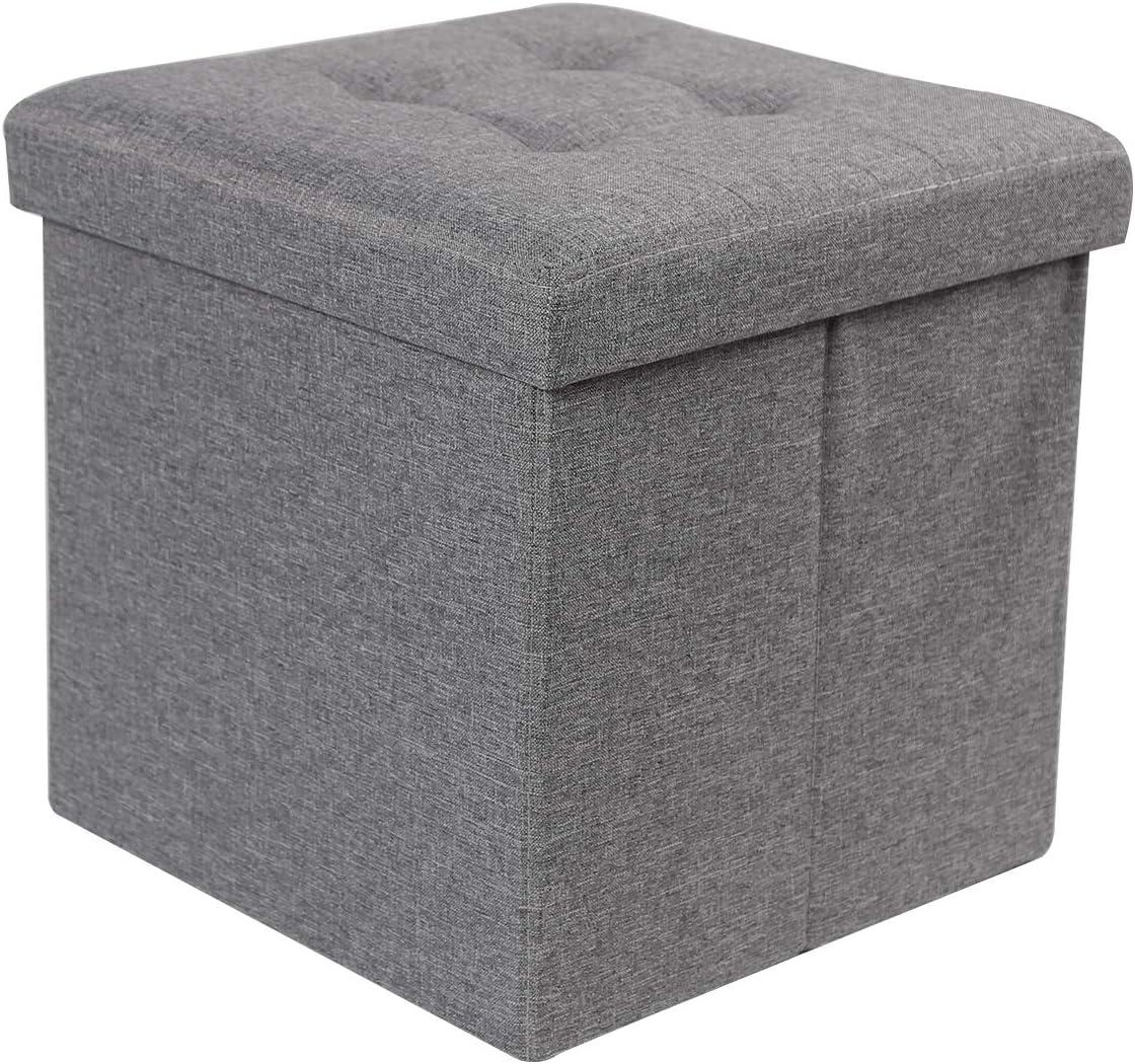 "REDCAMP 15""(55L) Linen Storage Ottoman Cube, Folding Small Ottoman Foot Rest for Bedroom Dorm Sofa, Grey"