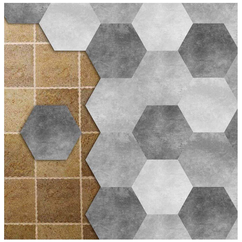 APSOONSELL Piastrelle Adesive Muro Esagonale-Shaped PVC geometrico grigio Impermeabile Decorazione per Cucina Bagno Fai da Te Set di 10 Pezzi (Lunghezza: 11, 5 cm di diametro: 23 cm)