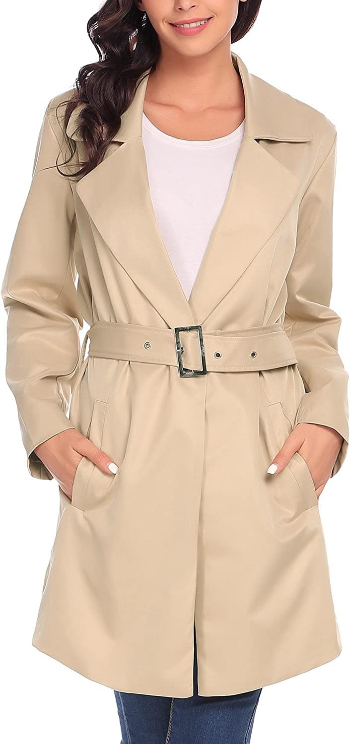 ANGVNS Womens Long Sleeve Single Button Belted Trench Coat Casual Coat with Pocket